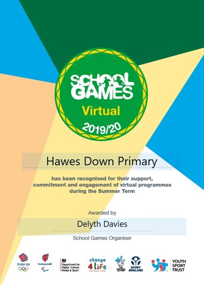 Virtual school games certificate
